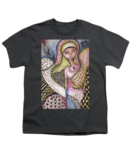 Youth T-Shirt featuring the mixed media Woman With Large Eyes by Prerna Poojara
