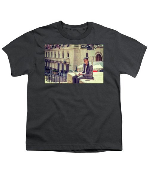 Young African American Man Working On Wall Street In New York Youth T-Shirt