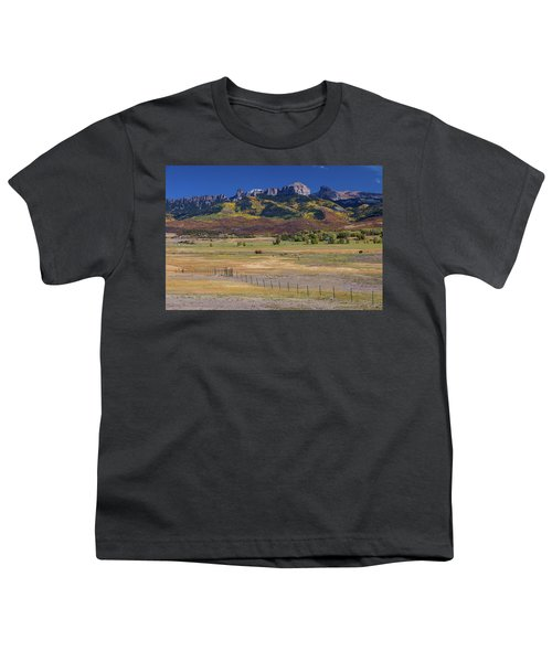 Youth T-Shirt featuring the photograph Courthouse Mountains And Chimney Rock Peak by James BO Insogna