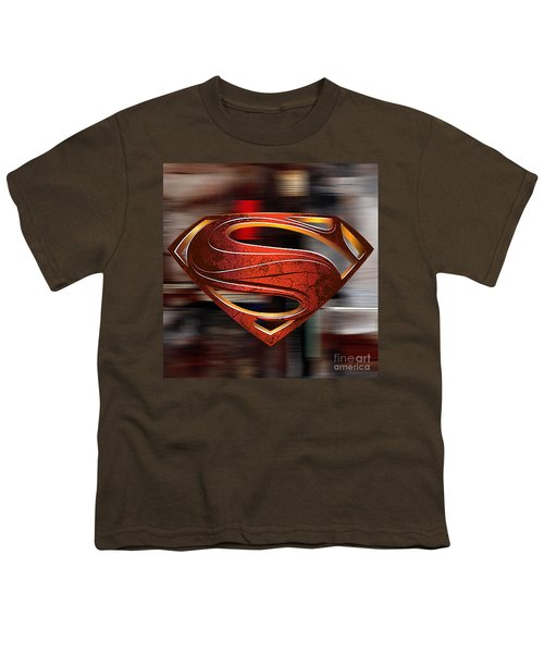 Youth T-Shirt featuring the mixed media Man Of Steel Superman by Marvin Blaine