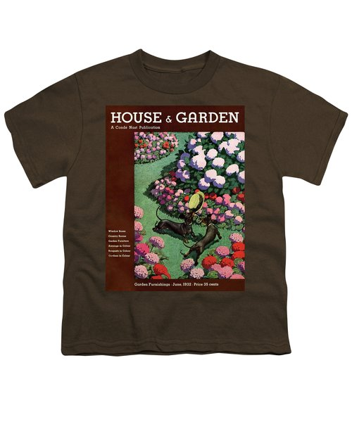 A House And Garden Cover Of Dachshunds With A Hat Youth T-Shirt