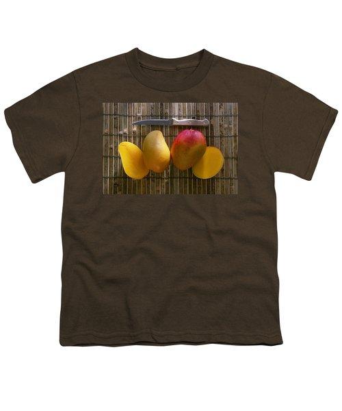 Agriculture - Sliced Sunrise Mango Youth T-Shirt by Daniel Hurst