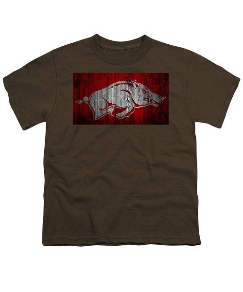 Arkansas Razorbacks Barn Door Youth T-Shirt by Dan Sproul