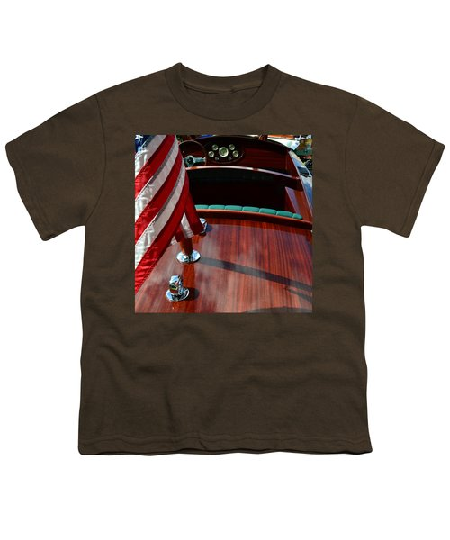 Chris Craft With Flag And Steering Wheel Youth T-Shirt