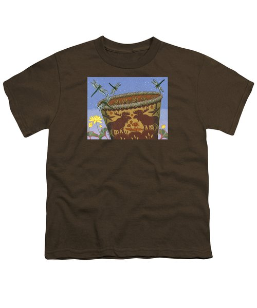 Youth T-Shirt featuring the painting Dragonfly - Cohkanapises by Chholing Taha
