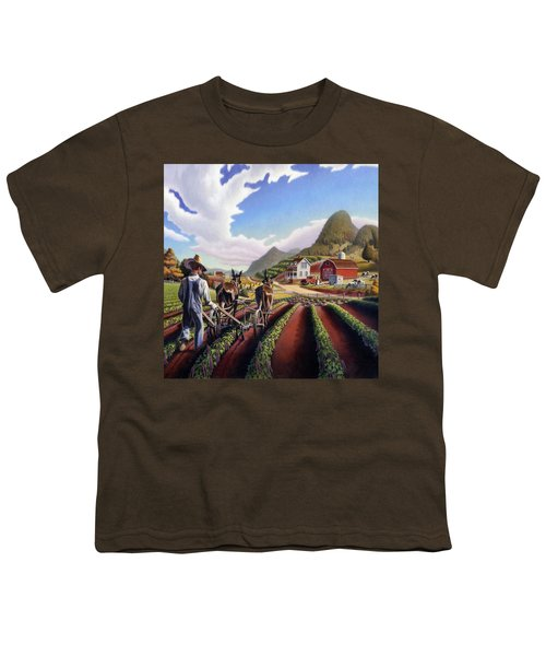 Farmer Cultivating Peas Country Farming Life Landscape - Farm Scene - Square Format Youth T-Shirt