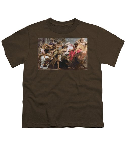 Lapiths And Centaurs Oil On Canvas Youth T-Shirt by Peter Paul Rubens
