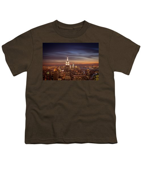 New York City Skyline And Empire State Building At Dusk Youth T-Shirt