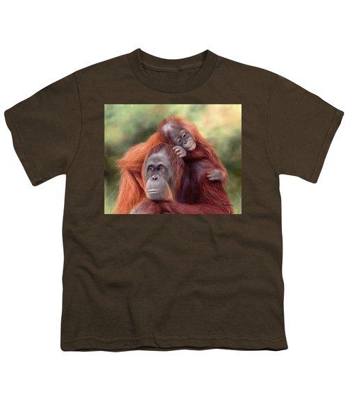 Orangutans Painting Youth T-Shirt by Rachel Stribbling