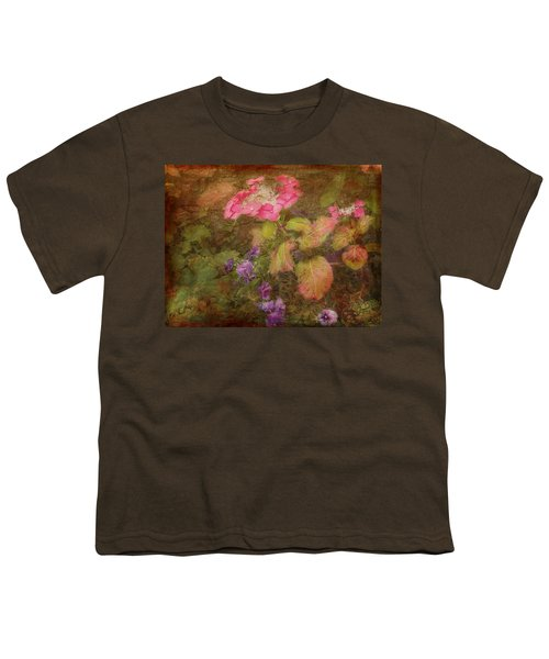Pink Hydrangea And Purple Pansies Youth T-Shirt