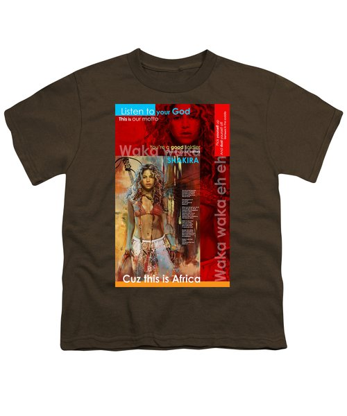 Shakira Art Poster Youth T-Shirt by Corporate Art Task Force