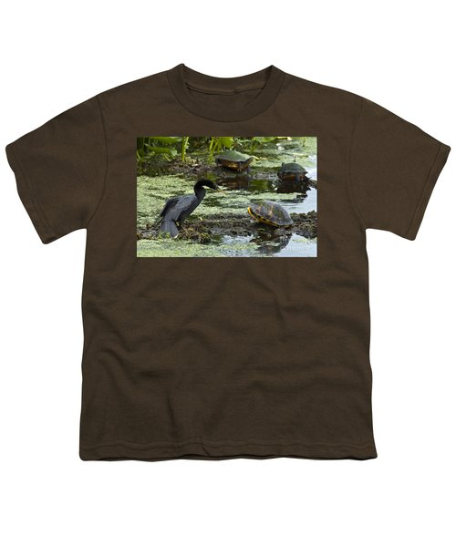 Turtles And Anhinga Youth T-Shirt by Mark Newman