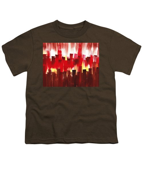 Youth T-Shirt featuring the painting Urban Abstract Evening Lights by Irina Sztukowski