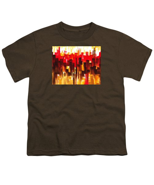 Youth T-Shirt featuring the painting Urban Abstract Glowing City by Irina Sztukowski