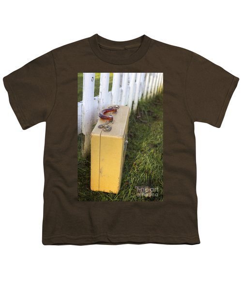 Vintage Luggage Left By A White Picket Fence Youth T-Shirt by Edward Fielding
