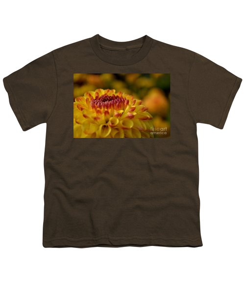 Yellow Dahlia Red Tips Youth T-Shirt