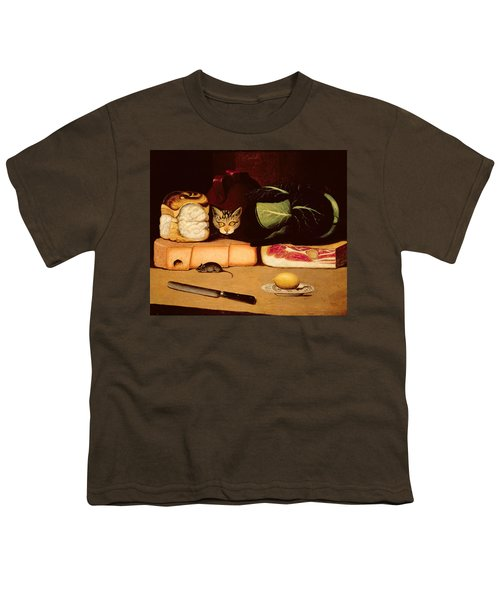 Still Life With Cat And Mouse Youth T-Shirt by Anonymous