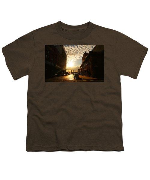 Summer Sunset Over A Cobblestone Street - New York City Youth T-Shirt