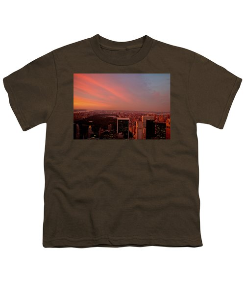 Sunset Over Central Park And The New York City Skyline Youth T-Shirt