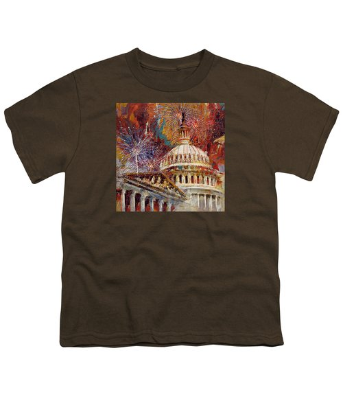 070 United States Capitol Building - Us Independence Day Celebration Fireworks Youth T-Shirt by Maryam Mughal