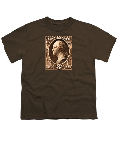 1875 George Washington Treasury Department Stamp Youth T-Shirt by Historic Image