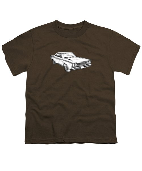 1968 Plymouth Roadrunner Muscle Car Illustration Youth T-Shirt by Keith Webber Jr