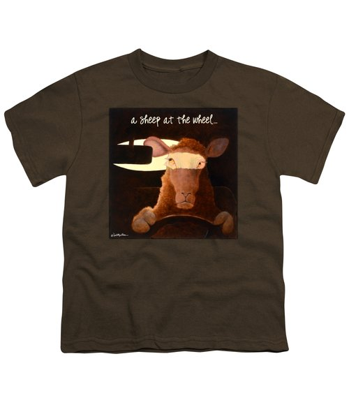 A Sheep At The Wheel... Youth T-Shirt by Will Bullas