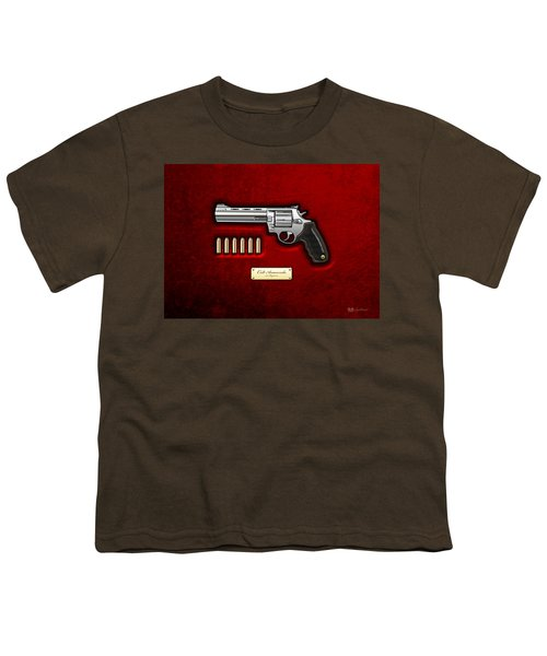 .44 Magnum Colt Anaconda On Red Velvet  Youth T-Shirt by Serge Averbukh