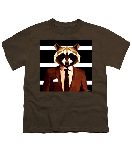 Abstract Geometric Raccoon Youth T-Shirt