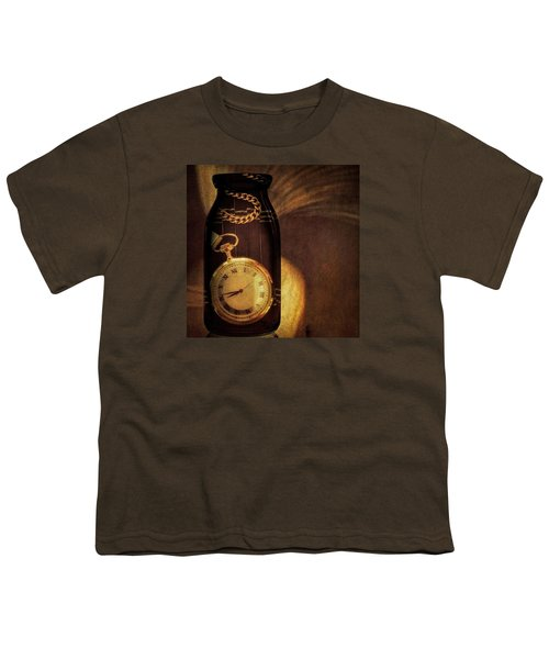 Antique Pocket Watch In A Bottle Youth T-Shirt by Susan Candelario