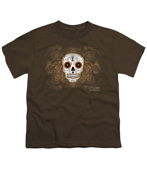 Vintage Sugar Skull Youth T-Shirt by Tammy Wetzel