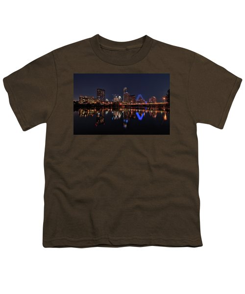 Austin Skyline At Night Youth T-Shirt by Todd Aaron