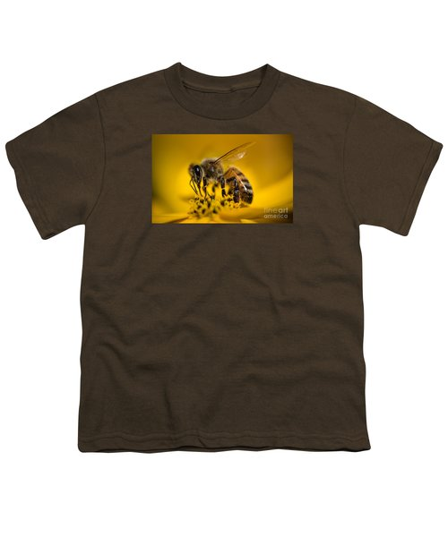 Bee Enjoys Collecting Pollen From Yellow Coreopsis Youth T-Shirt