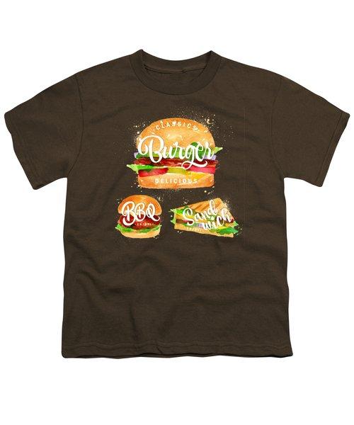 Black Burger Youth T-Shirt by Aloke Creative Store