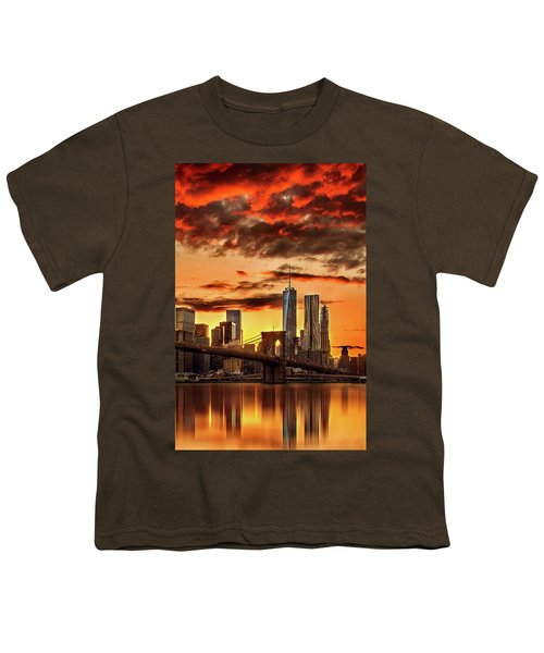 Blazing Manhattan Skyline Youth T-Shirt by Az Jackson