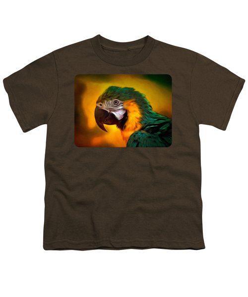 Blue Macaw Parrot Portrait Youth T-Shirt by Linda Koelbel