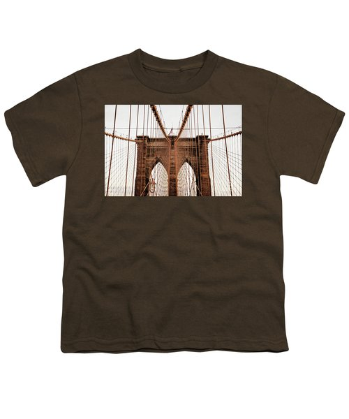 Youth T-Shirt featuring the photograph Brooklyn Bridge by MGL Meiklejohn Graphics Licensing