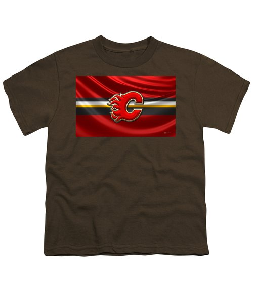 Calgary Flames - 3d Badge Over Flag Youth T-Shirt