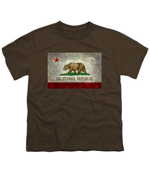 California Republic State Flag Retro Style Youth T-Shirt