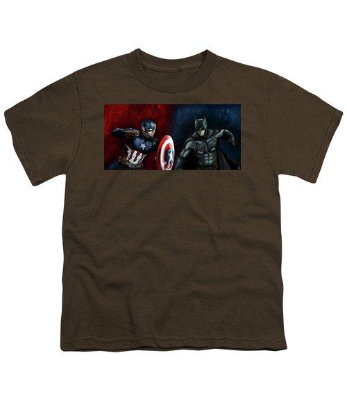 Captain America Vs Batman Youth T-Shirt by Vinny John Usuriello