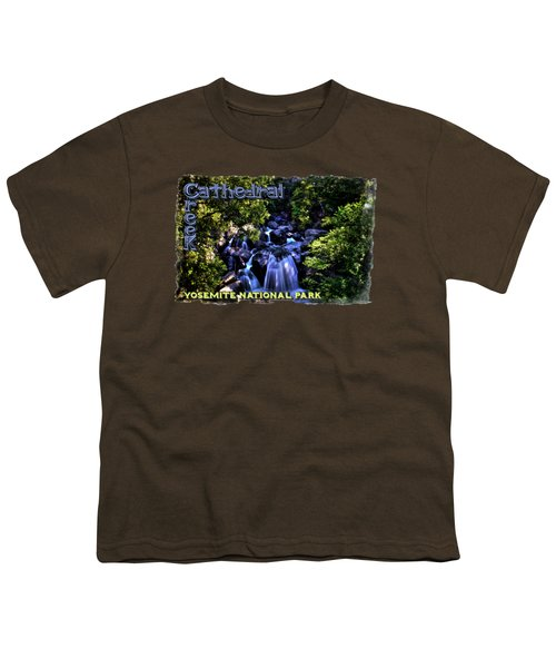 Cathedral Creek Cascade On The Tioga Pass Youth T-Shirt by Roger Passman
