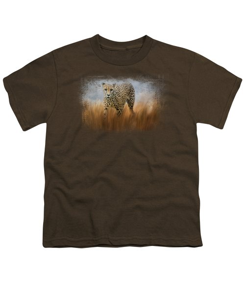 Cheetah In The Field Youth T-Shirt by Jai Johnson