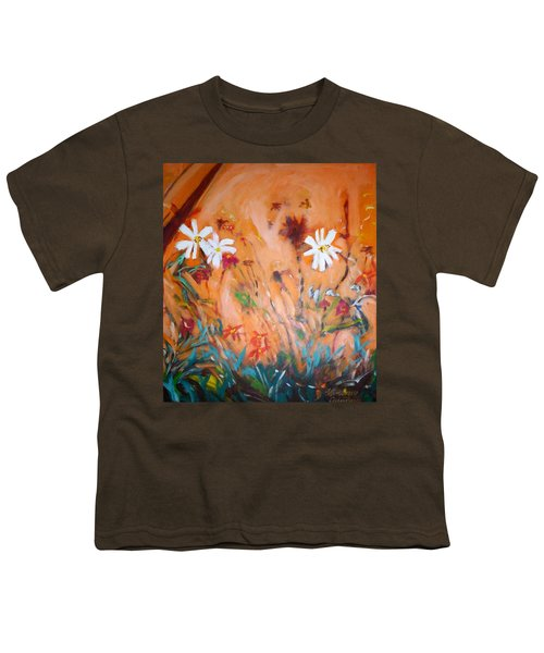 Youth T-Shirt featuring the painting Daisies Along The Fence by Winsome Gunning