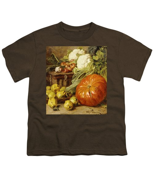 Detail Of A Still Life With A Basket, Pears, Onions, Cauliflowers, Cabbages, Garlic And A Pumpkin Youth T-Shirt by Eugene Claude