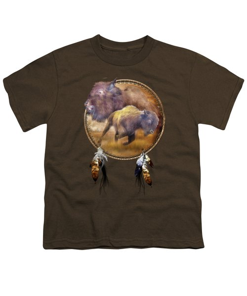Dream Catcher - Spirit Of The Brown Buffalo Youth T-Shirt by Carol Cavalaris