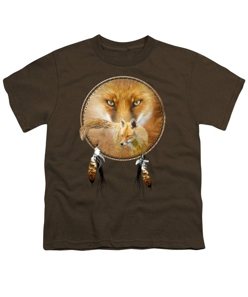 Dream Catcher- Spirit Of The Red Fox Youth T-Shirt by Carol Cavalaris