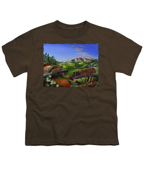 Farm Folk Art - Groundhog Spring Appalachia Landscape - Rural Country Americana - Woodchuck Youth T-Shirt