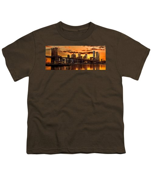 Fiery Sunset Over Manhattan  Youth T-Shirt by Az Jackson