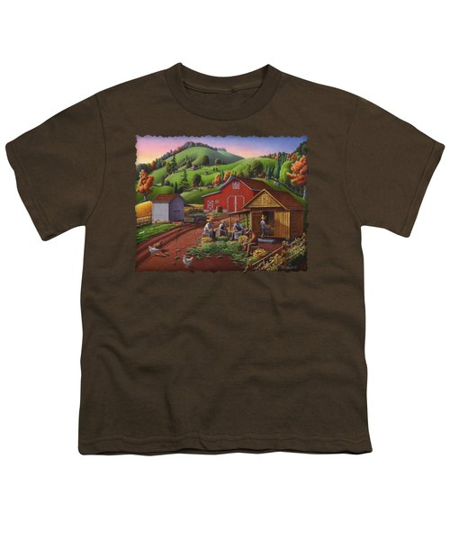 Folk Art Americana - Farmers Shucking Harvesting Corn Farm Landscape - Autumn Rural Country Harvest  Youth T-Shirt