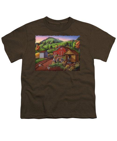 Folk Art Americana - Farmers Shucking Harvesting Corn Farm Landscape - Autumn Rural Country Harvest  Youth T-Shirt